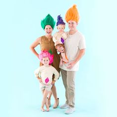 Image result for baby troll costume halloween pinterest troll dress up as trolls dolls with this family diy halloween costume tutorial solutioingenieria Image collections