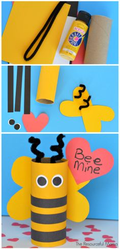 "Toilet paper roll ""Bee Mine"" Valentine's Day Craft for kids"