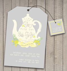 DIY Printable Vintage Tea Party Bridal Shower Invitation and Registry card -wedding teabag teapot design - Tea with the Bride to be Bridal Shower Tea Invitations, Bridal Shower Planning, Kitchen Tea Invitations, Bridal Shower Registry, High Tea Invitations, Tea Party Wedding, Tea Party Bridal Shower, Card Wedding, Shower Party