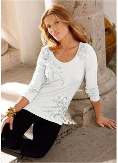 T-shirt manches longues, bpc selection, blanc cassé