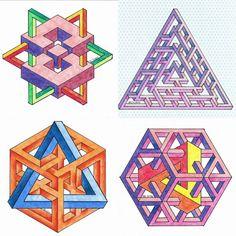 Isometric Shapes, Impossible Shapes, Geometric Shapes Art, Graph Paper Art, Desenho Tattoo, Mc Escher, Math Art, Principles Of Art, Shape Art