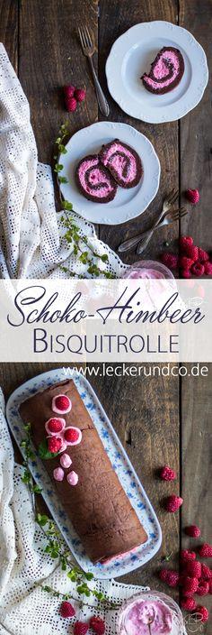 Schokoladen Bisquitrolle mit Himbeer Füllung