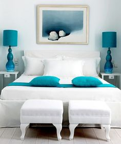 Beautiful aqua bedroom - time to spray paint my lamp bases? and or shades?