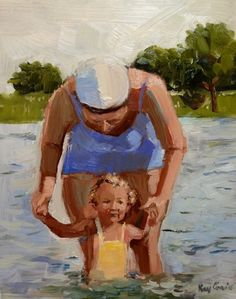 """Day at the Lake, 1942"" by Missouri artist Kay Crain- mother and child swimming"