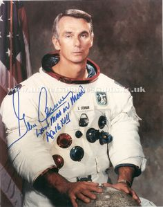 Gene Cernan official NASA photograph. Signed and for sale on our website http://www.universalautographs.co.uk/apollo-17---gene-cernan-2-143-p.asp