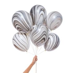 Marble Balloons, Helium Balloons, Latex Balloons, Black And White Balloons, Black And White Marble, White Gold, Party Pops, Sport Craft, Birthday Balloons