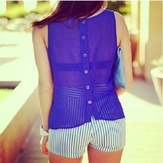 Sheer Top & Striped Shorts- Love this... might just be my motivation to get in shape!