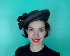 Vintage 1950s Hat  Asymmetrical Black Molded by OverAttiredVintage