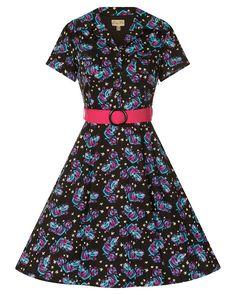 f95d5e05a664e Lilith Cheshire Cat Print Tea Dress | Vintage Inspired Fashion | Lindy Bop  Vintage Inspired Fashion