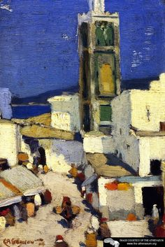 Great Mosque, Morocco Artwork By Clarence Gagnon Oil Painting & Art Prints On Canvas For Sale A4 Poster, Poster Prints, Abstract Landscape, Landscape Paintings, Clarence Gagnon, Canadian Painters, Canadian Art, Of Montreal, Art Prints For Sale