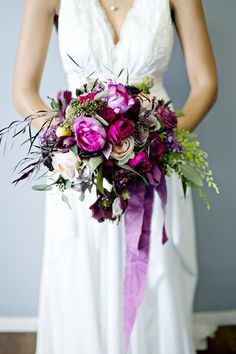 purple and green wedding bouquet - photo by Andie Freeman Photography #weddingbouquet #flowers #bouquet