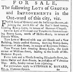 1786. Lots north of BH for sale.   New-York Packet, published as Loudon's New-York Packet (New York, New York) • 05-11-1786 • Page [4]
