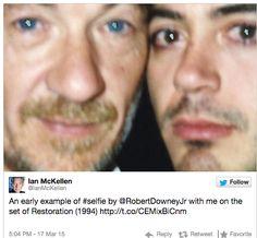 Sir Ian McKellen And Robert Downey Jr Were Selfieing Before There Were. Ian Mckellen Gandalf, Sir Ian Mckellen, Robert Downey Jr Young, 1995 Movies, Internet Movies, People Of Interest, Downey Junior, Tony Stark, Famous Faces