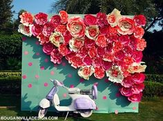 Cuteness overload this !!! New on the WedMeGood app decor by @jasleenk_bougainvilladesign #photobooth #scooter #backdrop #indianwedding #indianbride #brides #paperflowers #quirk #kitsch #love #cute #funky #pretty #scooter #weddingdecor #weddingday #indianwedding