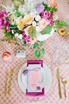 Cute #georgia peach table setting! #entertain #party