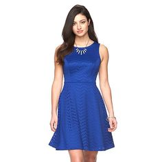 I just bought this dress at Kohls. Nice fit, and my favorite color. I wish the neck scooped down a little bit more so it would feel less like it's choking me, but I think I can deal with it. Hopefully.