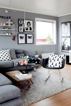 Scandinavian Interior Modern Design ---- Interior Design Christmas Wardrobe Fashion Kitchen Bedroom Living Room Style Tattoo Women Cabin Food Farmhouse Architecture Decor Home Bathroom Furniture Exterior Art People Recipes Modern Wedding Cottage Folk Apar Small Living Room Design, Living Room Grey, Small Living Rooms, Home And Living, Living Room Designs, Living Room Decor, Modern Living, Cozy Living, Black White And Grey Living Room