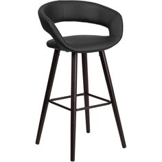 Ashlynn Series 29-Inch High Contemporary Barstool with Cappuccino Wood