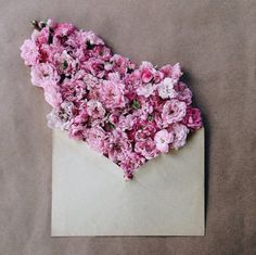 Flower Bouquets in Vintage Envelopes  Kiev-based artist Anna Remarchuk showcases stunning images of her flower bouquets inserted in envelopes on her Instagram account. Remarchuk delicately styles lush flowers into vintage envelopes, which belong to her grandmother. The results are feminine, delicate and a creative craft, which are ideal for Instagram's beauty and image crazed culture.