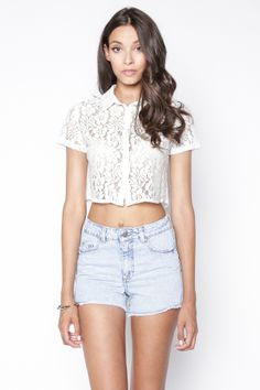 90s Lullaby - KASSIDY OFF WHITE LACE BUTTON DOWN, $14.90 (http://www.90slullaby.com/shop/crop-tops-now/kassidy-off-white-lace-button-down/)