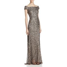 Adrianna Papell Off-The-Shoulder Beaded Gown ($320) ❤ liked on Polyvore featuring dresses, gowns, lead, sequin evening dresses, off the shoulder evening dress, adrianna papell dresses, beaded gown and off the shoulder ball gown