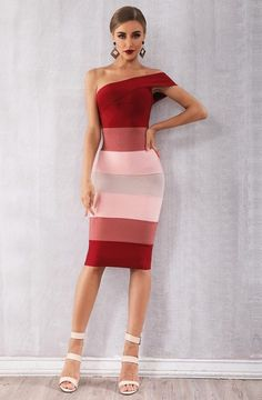 Shoulder Dress bodycon Rosy Red One Shoulder Gradient Bandage Dress red gradient one shoulder - full view on model Simple Prom Dress, Classy Dress, Types Of Dresses, Short Dresses, Summer Dresses, One Shoulder Dress Long, Bodycon Dress Formal, Rehearsal Dinner Dresses, Clubwear Dresses