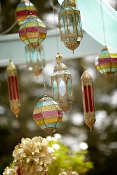 Stained glass lanterns brought an exotic touch to an outdoor @Four Seasons Hotel Westlake Village event.
