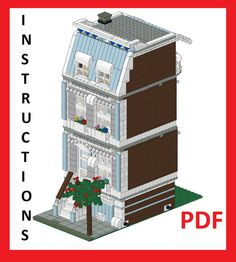 Lego Custom Modular Building Blue House Instructions Only | eBay
