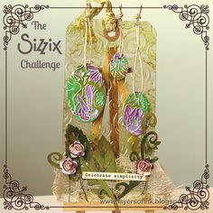 The Sizzix Challenge | Dragonfly Pond Tag by Anna-Karin. Tutorial made for the Sizzix challenge, using various dies and embossing folders.