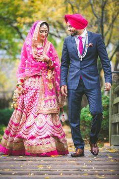35 Punjabi Bridal Lehenga Styles that You Would Want to Steal! Punjabi Bride, Punjabi Wedding, Pakistani Bridal, Punjabi Couple, Sikh Wedding, Farm Wedding, Wedding Couples, Wedding Bells, Boho Wedding