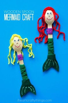 Mermaid fans will love this cute wooden spoon mermaid craft. The little mermaids make great puppets for imaginative play.