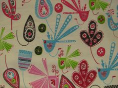Artsy Birds Flannel Fabric -  multicolored birds with flowers and leaves - YARD. $6.75, via Etsy.