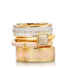 You Make Me Blush Ring Stack by Astley Clarke