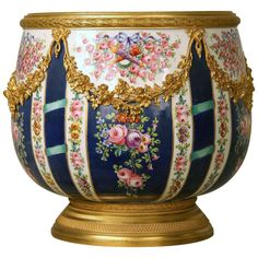 For Sale on - A fine late century gilt bronze-mounted Sèvres style parcel-gilt porcelain jardinière Finely painted with instruments, trophies and roses, mounted Porcelain Jewelry, Fine Porcelain, Porcelain Ceramics, Painted Porcelain, Porcelain Doll, Bronze, Rococo Style, China Painting, Decorative Objects