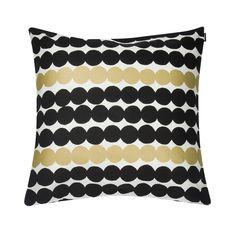 Marimekko - Räsymatto Anniversary Cushion Cover and Insert cm - Black/White/Gold