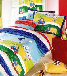 Custom Twin or Single Size Dark Blue, Red Yellow Green Cars, Trucks Printed  Kid Bedding Set 4pcs. $100.00, via Etsy.