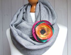 LINEN Infinity Scarf with flower pin fashion linen by Zojanka