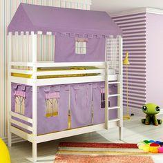 Beliche infantil Teen Play c/ Telhado Completo e Tenda Castelo Lilás - Branco Lavado - Casatema - CasaTema
