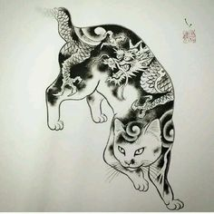 tattoos in japanese prints Japanese Tattoos For Men, Japanese Tattoo Symbols, Japanese Tattoo Designs, Japanese Sleeve Tattoos, Japanese Cat, Japanese Prints, Cat Tattoo, Photo Instagram, Trendy Tattoos