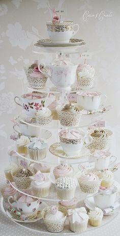 cupcakes in teacups