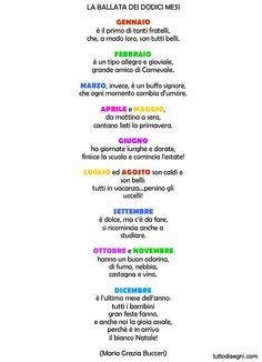 Filastrocca sui mesi - TuttoDisegni.com Everyday Italian, Reading Practice, Italian Language, Learning Italian, Yoga For Kids, Toddler Preschool, Primary School, Nursery Rhymes, Montessori