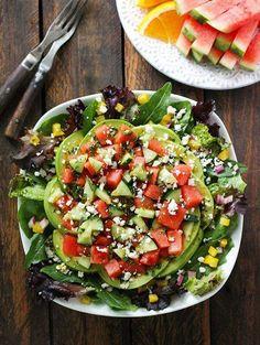 Crunchy Sweet Watermelon Cucumber Avacodo Salad