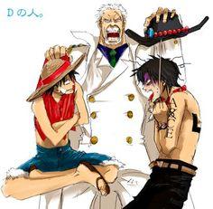 Garp, Ace and Luffy Ace One Piece, One Piece Comic, One Piece Funny, One Piece Fanart, Manga Anime, Film Manga, Me Anime, One Piece Pictures, One Piece Images