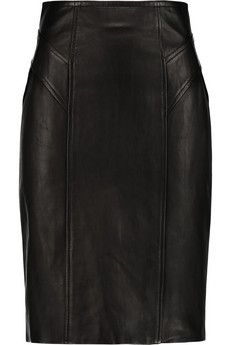 Diane von Furstenberg Leather and stretch-jersey pencil skirt | THE OUTNET