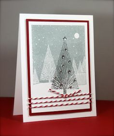 """Hero Arts - """"Winter Moon,"""" """"Many Branches Tree,"""" gemstones, and silver embossing powder. Memento - London Fog ink, Maya Road - twine, Neenah - white card stock, Stampin' Up - Cherry Cobbler card stock."""
