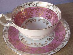 Antique Royal Grafton pink tea cup set   https://www.etsy.com/shop/royalteahats