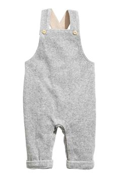 Cotton velour dungarees - Grey - Kids | H&M GB 1