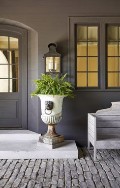 Inside a Alabama House Designed by Architect Paul Bates and Designer Melanie Pounds 2021 Brook House, Mountain Brook, Patio Accessories, Front Entrances, Living Room With Fireplace, Home Staging, Exterior Paint, Architecture Details, Curb Appeal