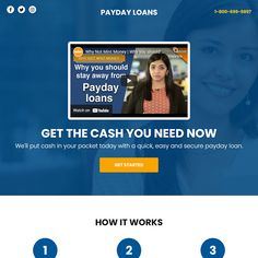 payday loan video responsive funnel design Thing 1, Payday Loans, Landing Page Design, Lead Generation