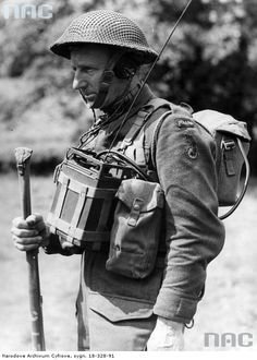 Infantry radio operator of the 1st Armored Division during training